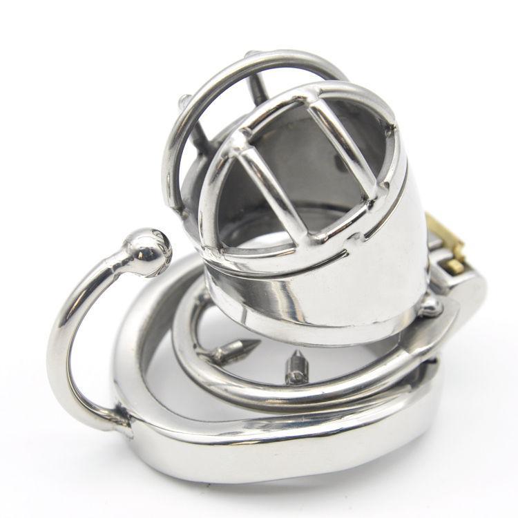 Gaiola pequena do dispositivo de castidade masculino de aço inoxidável 304 com fechamento # E379 do anel do arco