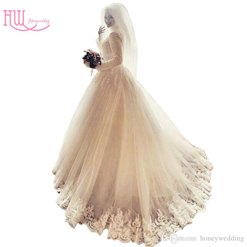 Modest Plus Size Muslim Wedding Dresses High Neck Lace Appliques Ruched Tulle Luxury Ball Gown Bridal Gowns Cheap Islamic Wedding Gowns