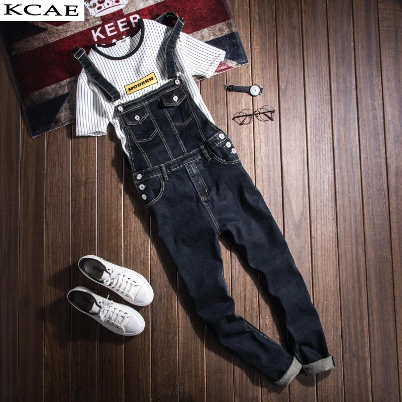 Wholesale- Mens Denim Bib Overalls Vinatge Coverall Long Rompers Pants Casual Fashion Sexy Men's Torn Denim Jumpsuit With Suspenders