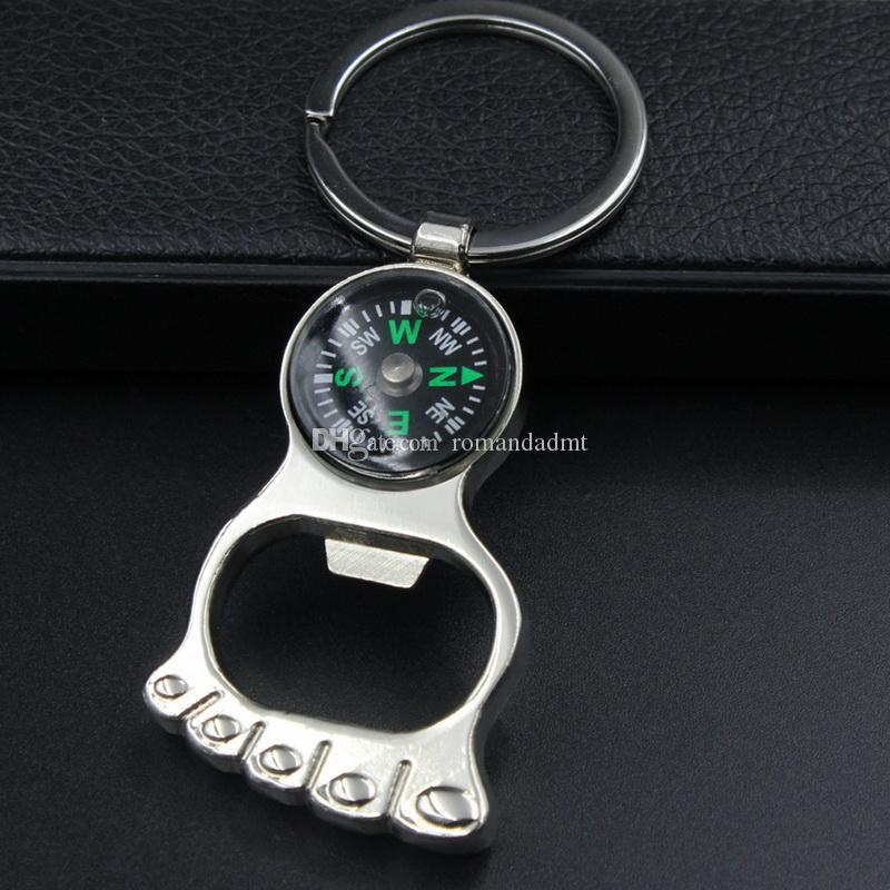Compass with foot bottle opener Alloy key chain Keychain key ring wedding favors Baby Shower Party gift + DHL free shipping
