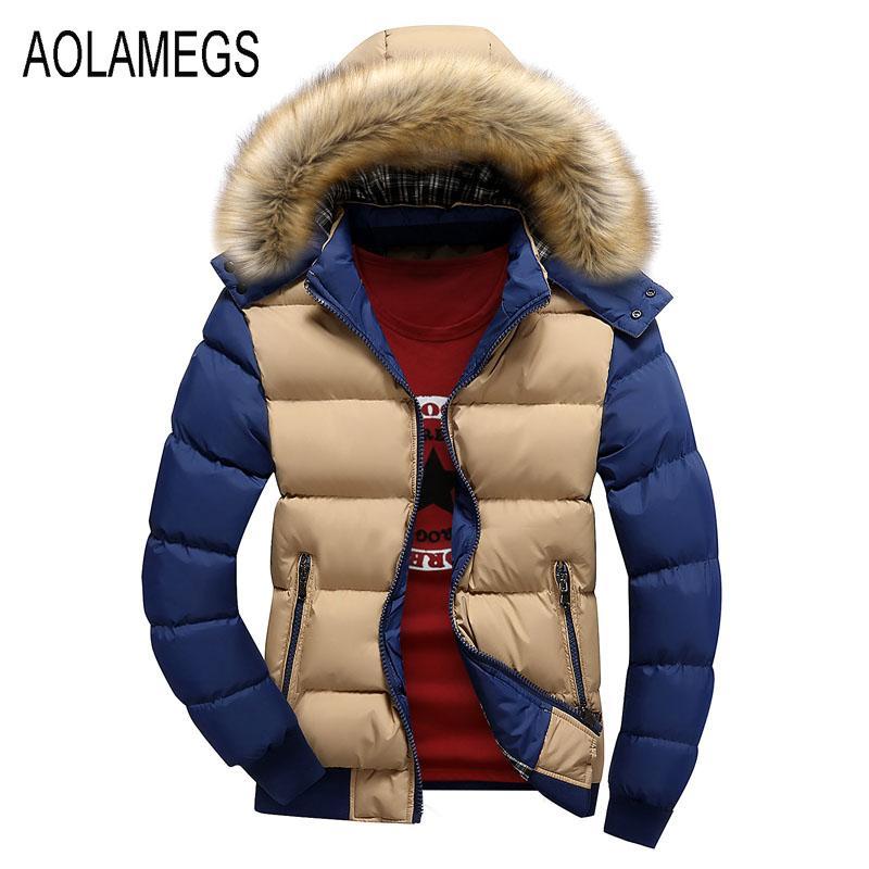Toptan-Aolamegs Kış Ceket Erkekler Moda Kontrast Renk Kürk Kapşonlu Kış Coat 2016 Pamuk-yastıklı Giyim Manteau Homme Hiver M-4XL
