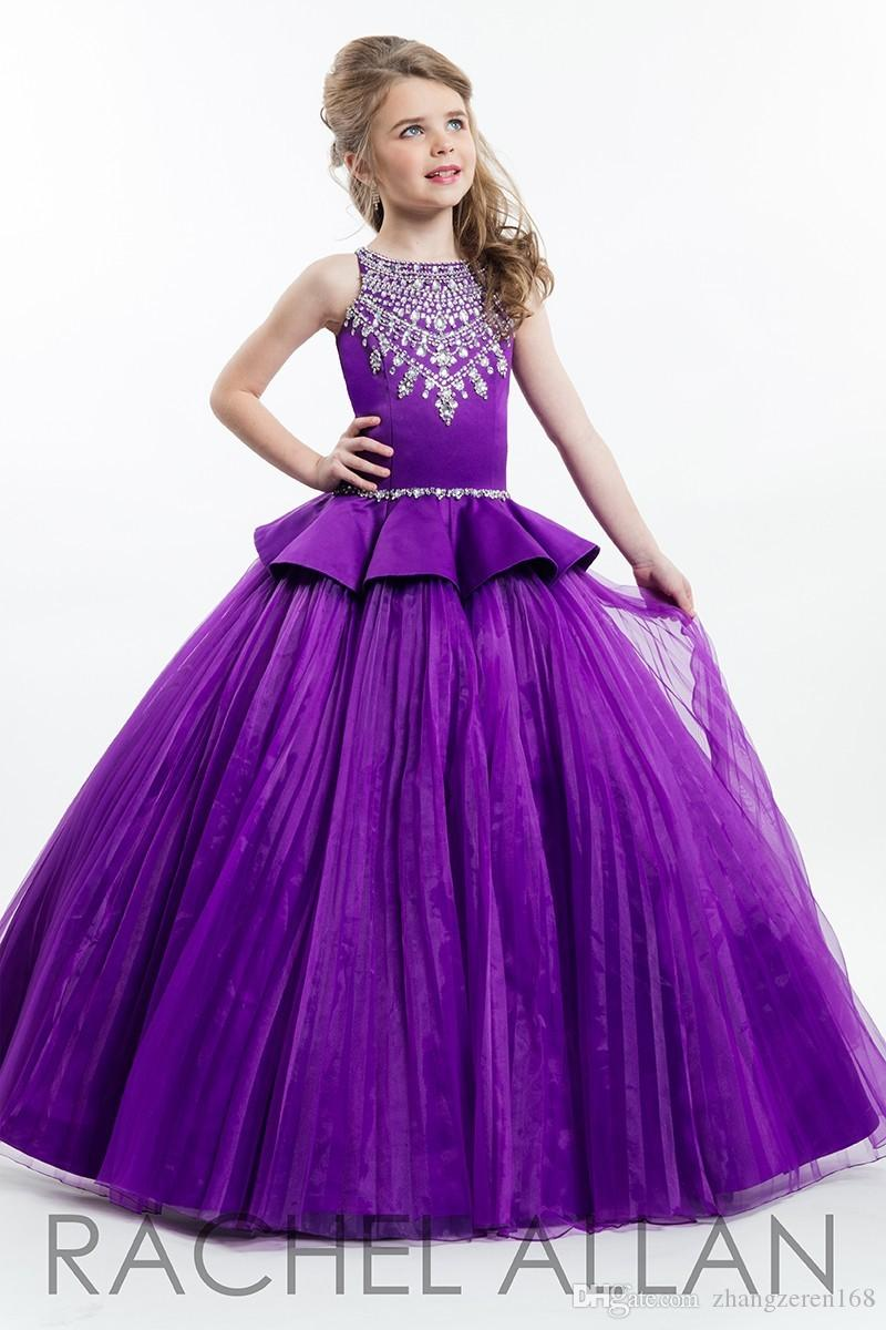 wholesale online good texture fantastic savings Hot Sell Cute Parkly Beaded Purple Ball Gown Girls Pageant Dresses New Kids  Birthday Prom Dress Customized Flower Girl Dresses Yellow Flower Girl ...