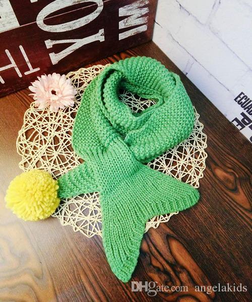 Acheter Enfants écharpe Petite Queue De Sirène Laine Bébé écharpes à Tricoter Enfant Foulard écharpe Au Crochet Cadeau De Noël Chaud De 486 Du