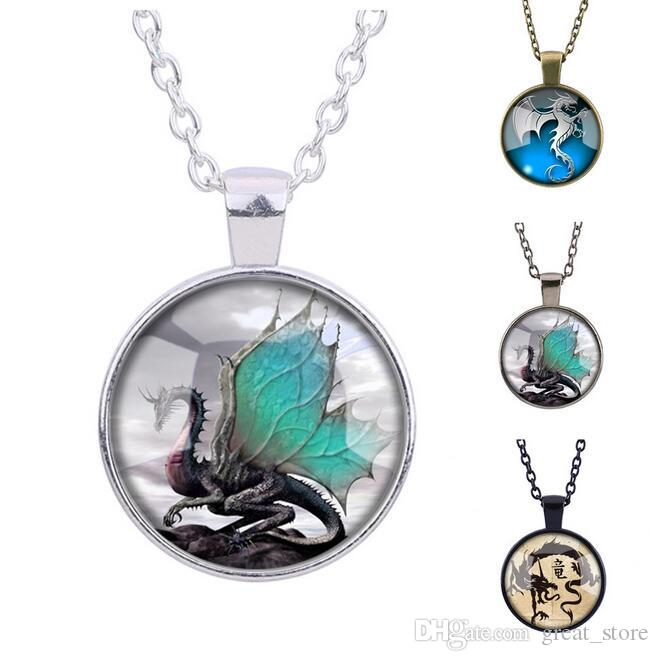 Free shipping Dragon Totem Time Gemstone Necklace New Swing Sweater Chain WFN370 (with chain) mix order 20 pieces a lot