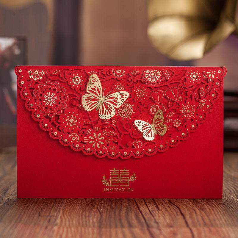 Toptan-Çin Tarzı Kırmızı 3D Butterfly Dekor Mutluluk Düğün Davetiye, CW5521 Altın Folyo Lazer kesim Süreci Davet kartı