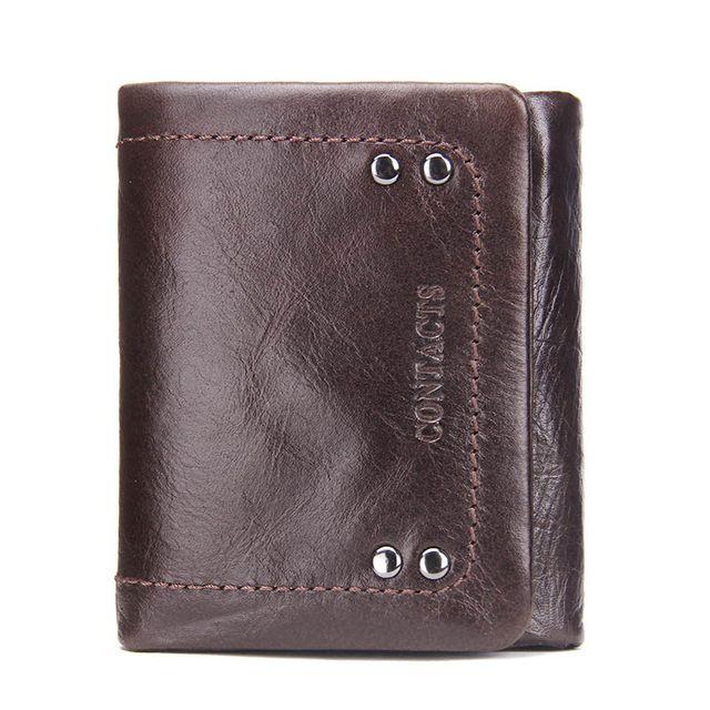 Für Brieftaschen Brieftasche Markenkarte Leder Echtes Leder Trifold Business Geschenk Holder M1208 Design Geldbörse Haspe Münze Solide Kurz FBGOB
