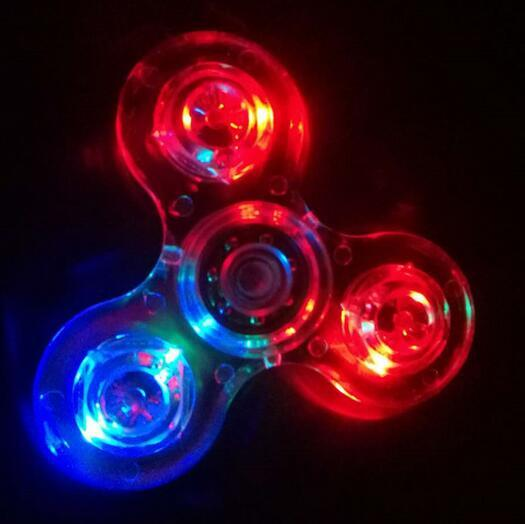 New LED Luminous Fid Spinner Crystal Colorful Glitter Clear Hand