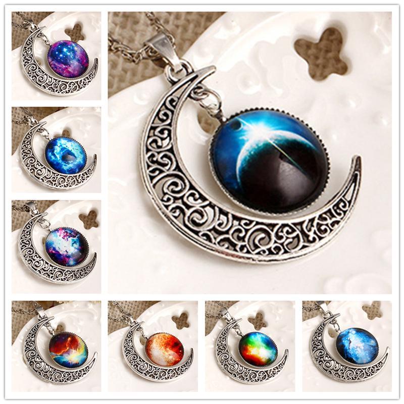 All'ingrosso-New fashion Moon Statement Collana Glass Galaxy in metallo ciondolo collane collana Catena maglione decorazione Gioielli choker