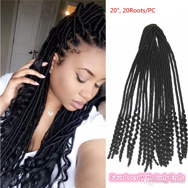 Newest synthetic stylish faux locs with curly ends crochet newest synthetic stylish faux locs with curly ends crochet braiding hair extensions black dread locks twist pmusecretfo Choice Image
