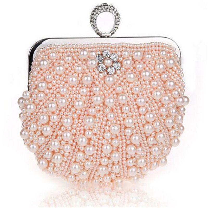 2017 New fashion Finger Ring bag pearl clutch evening bag wedding bridal purse black beaded evening bag Bridal wedding party