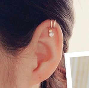 2016 뜨거운 판매 Unisex 여름 스타일 골드 / 실버 도금 입방 지르코니아 Tragus 귀에 귀걸이 클립 귀걸이 패션 귀걸이