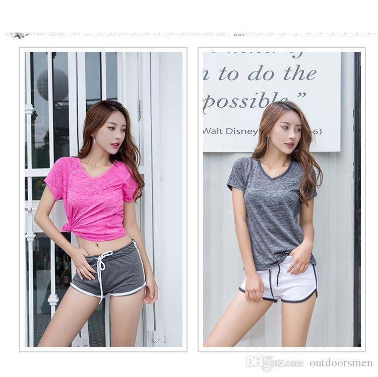 Chaud Femmes Filles Top Comfort Fitness T-shirt en coton respirant pour les loisirs en cours d'exécution T-shirt de course à pied à séchage rapide