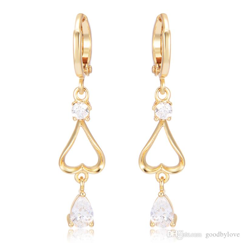 Top Quality Yellow Gold Plated Heart Cubic Zirconia CZ Teardrop Charm Dangle Earrings Fashion Jewelry Bijoux Hot Gift for Party