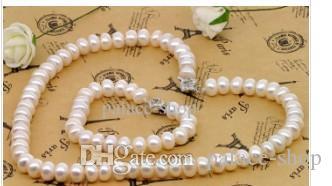 Collier de perles naturelles Bracelet de perles 9-10 mm