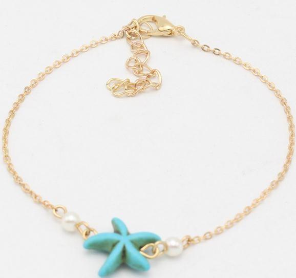 Europa und die Vereinigten Staaten beliebte Strand Schmuck Türkis Seestern Perle einfache Fußkette