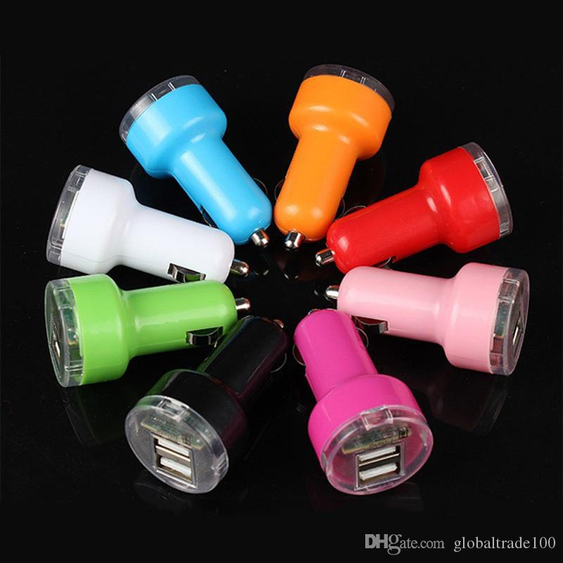 Dual USB Car Chargers 5V 2.1A 1A 2 Port Car Charger For iPhone iPad Cell phones Tablet PC 100pcs/lot Free DHL