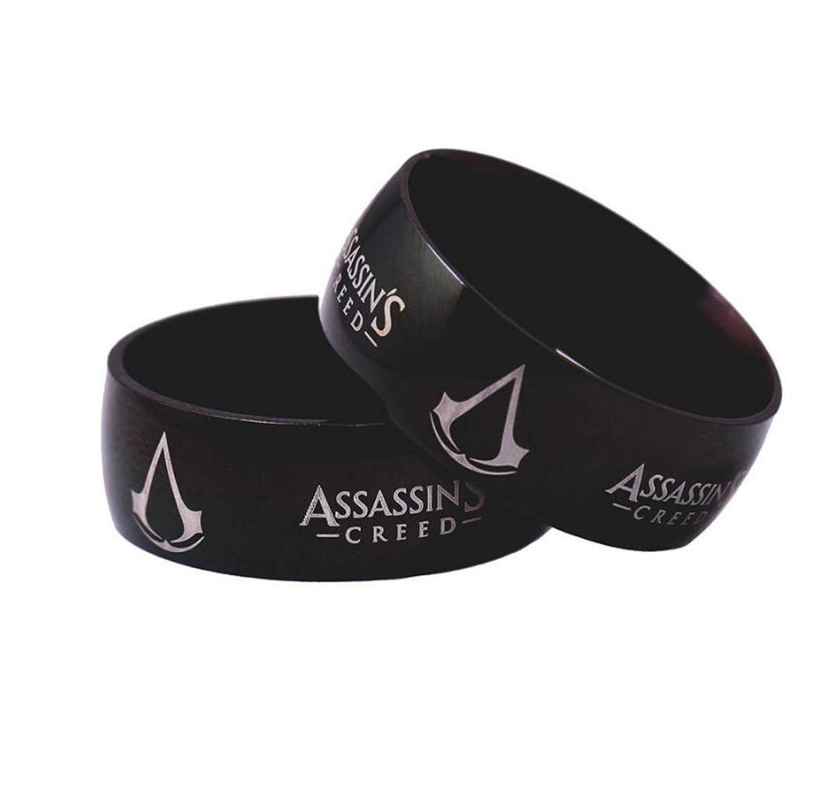8 мм Assassins Creed черный Титана кольцо из нержавеющей стали размер 6-13