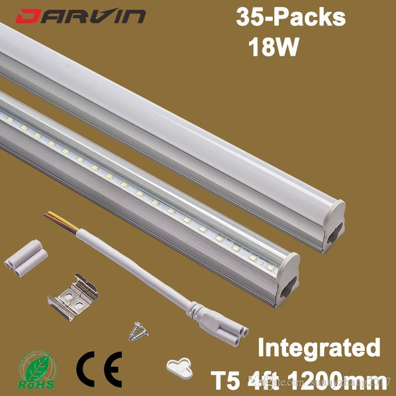 T5 튜브 120cm 1200mm 4ft 18w LED 튜브 빛 형광등 통합 T5 LED 형광등 높은 밝은 밝은 AC85-265V 110V 220 튜브