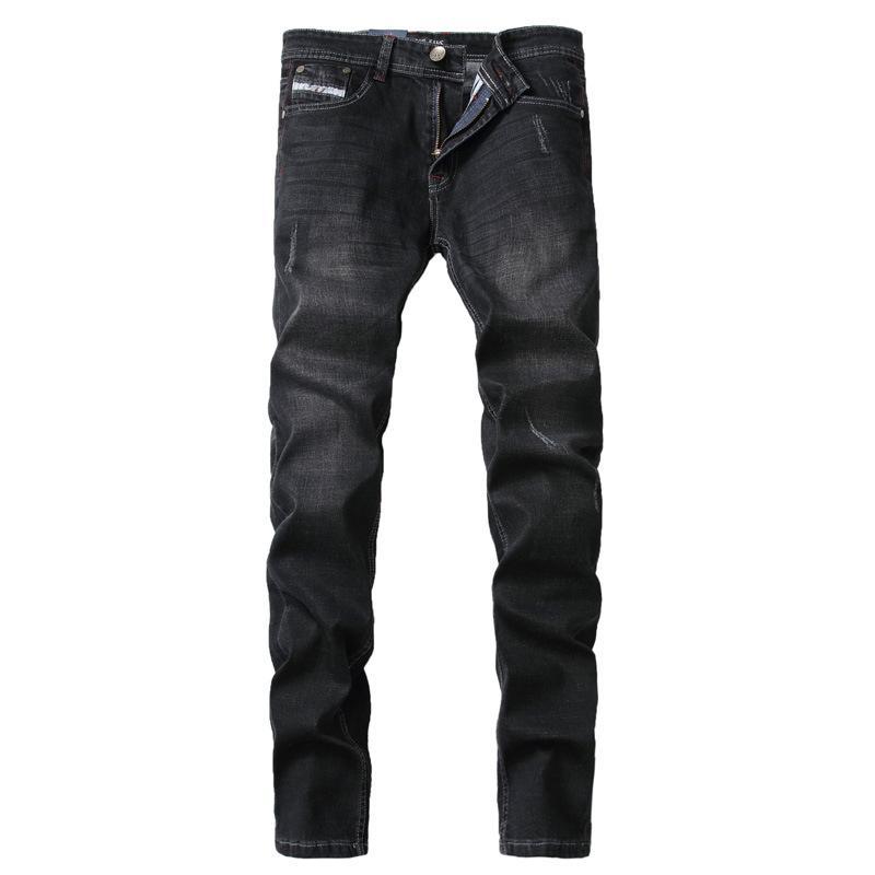 Großhandels- 2017 Frühlings-neue Ankunfts-gute Qualitäts-Schwarz-Denim-Männer grundlegende Art-gerade Jeans für Männer Moustache Rip Biker Jeans 29-40