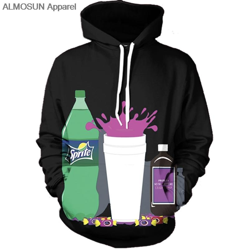 All'ingrosso- ALMOSUN Sipping That Lean 3D All Over Printed Felpe con cappuccio Tasche Felpa Hip Hop Hipster Cheers Street Wear Uomo Donna