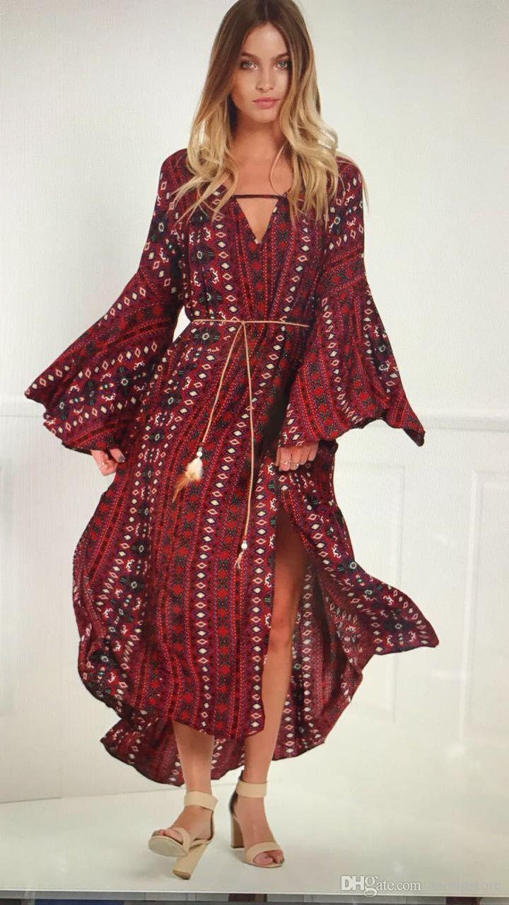 großhandel art und weise 2019 thailand art böhmisches langes kleid retro  blumendruckbaumwollkleid mischungsmuster langer strand kleidet großes rand