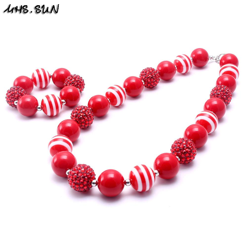 MHS.SUN Red Color Christmas Kid Chunky Necklace&Bracelet Set Best Gift For Children Girl Toddler Bubblegum Chunky Bead Necklace Jewelry Set