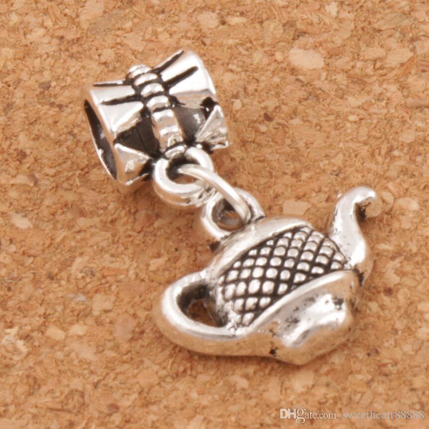 Tea Pot Big Hole Pärlor 100st / Lot 23.2X15.3mm Antik Silver Dangle Passform Europeiska Charm Armband Smycken DIY B405