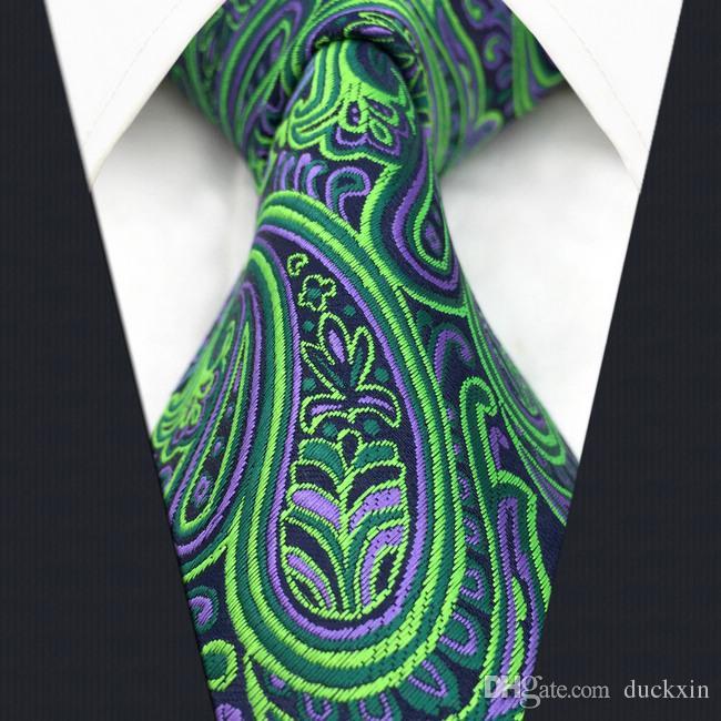 Hot classique Paisley Violet Vert Jacquard Tissé 100/% Soie Hommes Cravate Cravate
