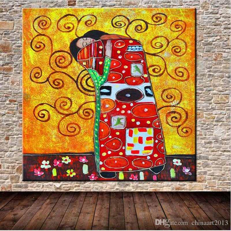 Çerçevesiz 100% El-Boyalı Gustav Klimt Ünlü Yağlıboya Modern Sanat Sergisi Soyut Duvar Sanat Ev Dekorasyonu