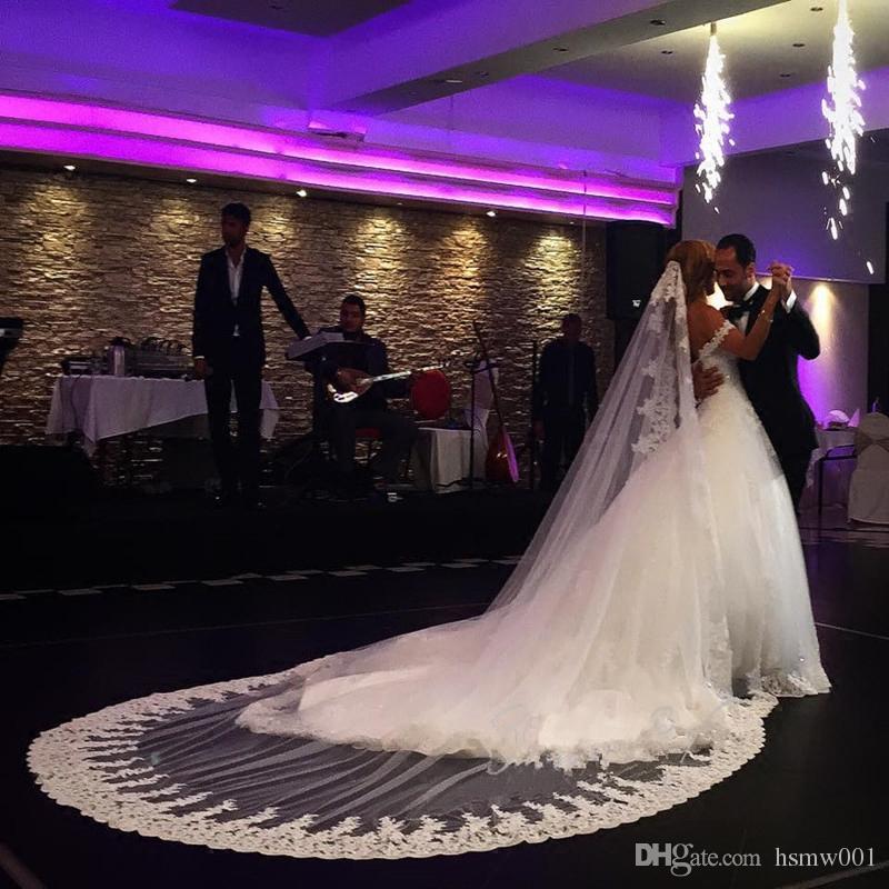 Bridal Long Lace Cathedral Velo da sposa 3 m Meter Accessori Bianco Avorio Voile Mariage Mantilla Musulmano Vail Velos De Novia