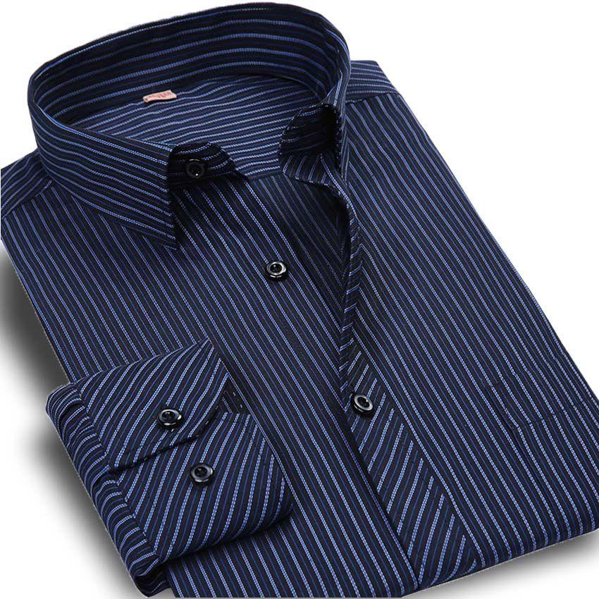 Plus Größe 5XL Herbst Neue 2017 Männer Gestreiftes Kleid Shirt Formale Mode Langarm Marke Business Männer Freizeithemd Regular Fit