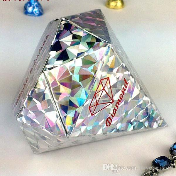 4 Colors Pick--100pcs/lot Ivory Colors Diamond shaped Candy Box Wedding Favour Boxes Sweet Gift Box Wedding Favors and Gifts
