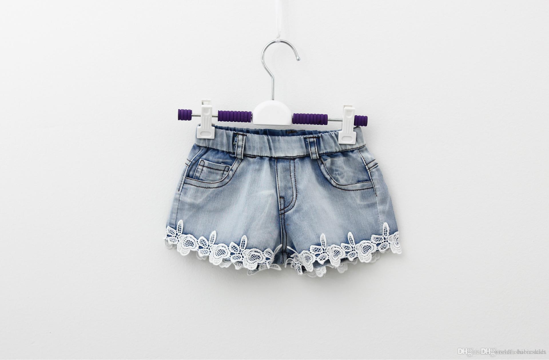Çocuk Şort Yaz Çocuk Denim Şort Kore Kız Dantel Şort çocuk Kot Sıcak Pantolon 100-140 Boyutu 5 adet / grup Fabrika Satış Ch