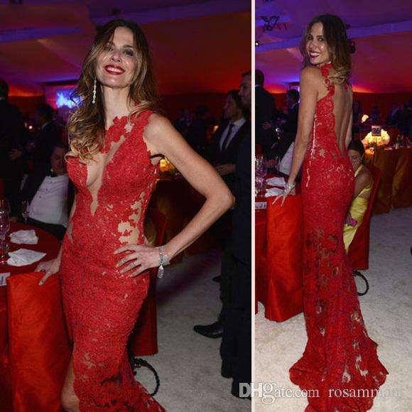Party Dress Red Prom Dresses Lace Evening Dress Mermaid Backless Open Back Evening Gowns for Teens