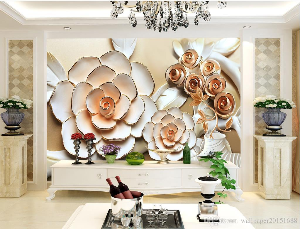 Rose Flower Relief Mural Tv Wall Mural 3d Wallpaper 3d Wall Papers  # Meuble Mural Tv C Discount