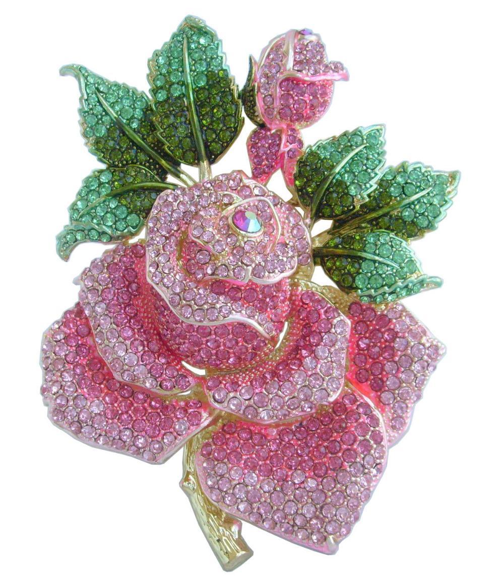 """Kadınların Muhteşem için Moda pimleri broşlar 5.32"""" altın sesi Pembe Rhinestone Kristal Gül Çiçek Broş Pin EE02994C12"""