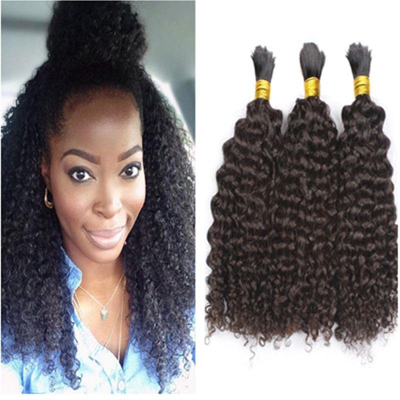 muito 8A não transformados Afro Brasileira Kinky cabelo encaracolado trança Humano 3pcs aparente Não há trama do cabelo para Africano American Natural Cabelo Preto