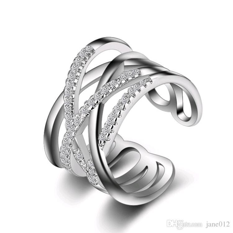 خاتم الفضة مايكرو تمهيد الأحجار الصغيرة متعدد الطبقات روز الذهب الأبيض الكورية اليابانية خواتم مجوهرات للنساء