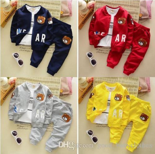 3 stücke Kinder Baby Jungen Kleidung Set Tops + T-shirt + Hosen Kinder Outfits Set Jungen Herbst Kleidung 0-4YEARS