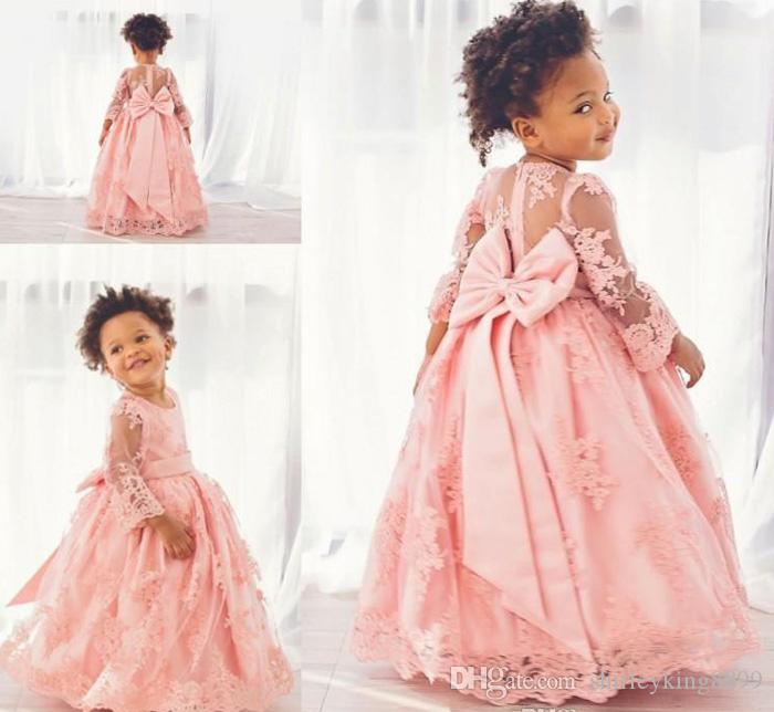 Pretty Flower Girls' Dresses Tulle with Lace Bateau Neck Long Sleeves 2017 Floor-Length Kids Formal Gowns Custom