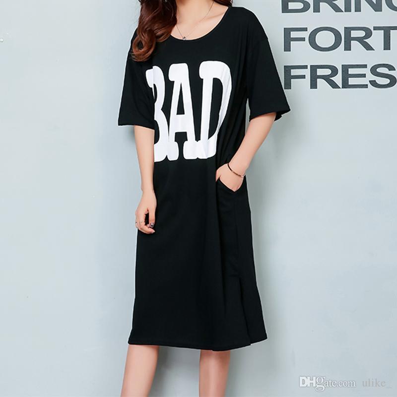 2017 New Summer Side High Slit T-shirt lunga da donna Sex BAD Printed Dress Short Sleeves Black White New Fashion Clothing