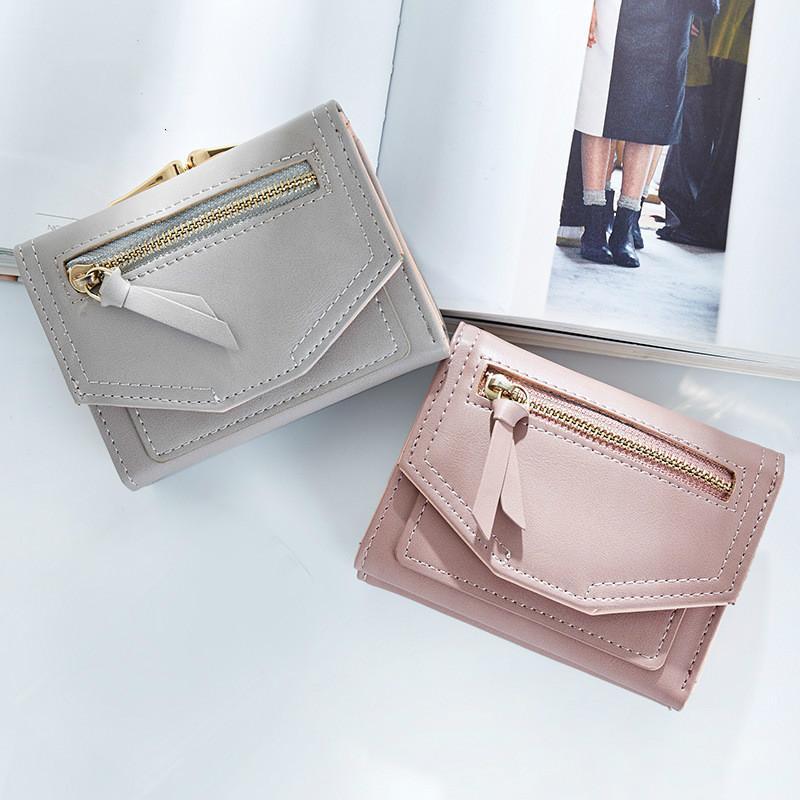 Breve portafoglio femminile autunno nuovo Giappone Corea semplice piccola tendenza fresca moda colore solido multi-carta mini borsa