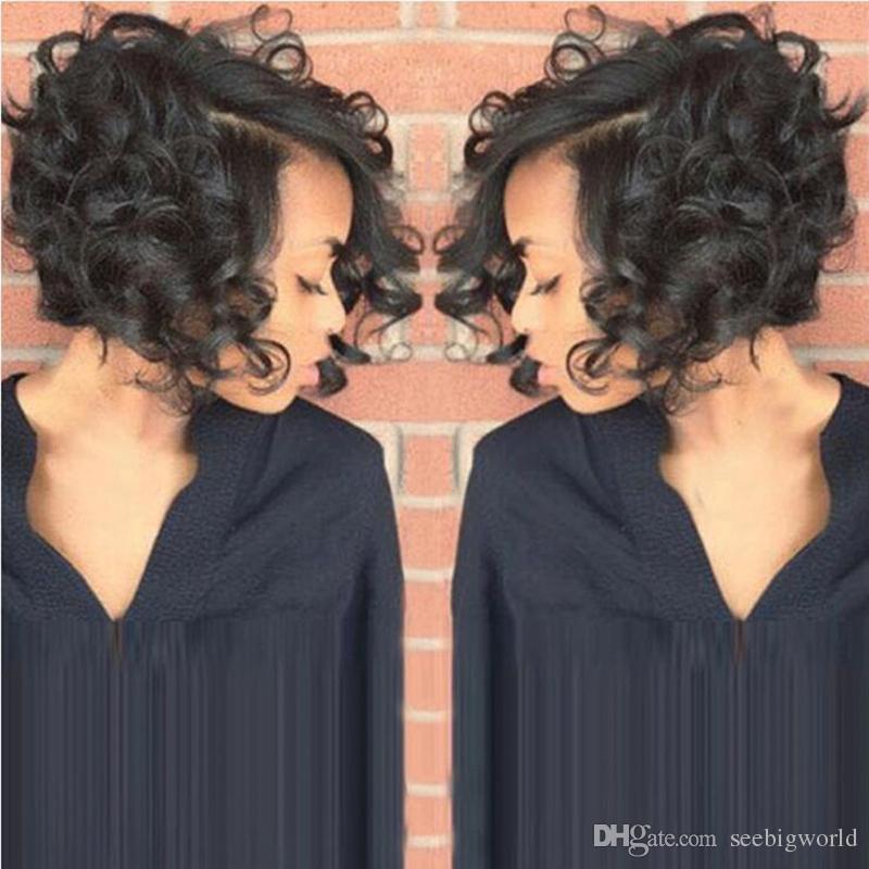 Nouveau En arrivant la mode africaine Ameri cheveux cheveux brazilian humain simulation style bob perruques Kinky Curl Natural Color de pleine perruque
