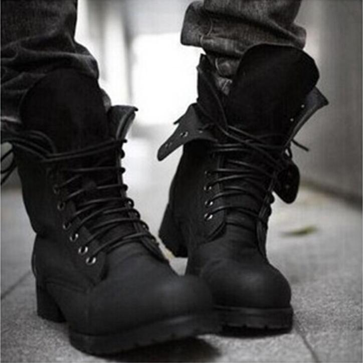 Hot! Retro Combat Boots Winter England Style Fashionable Men\u0027S High Top  Black Shoes Hot Sale Men Ankle Boots Cheap Cowgirl Boots Mens Dress Boots  From