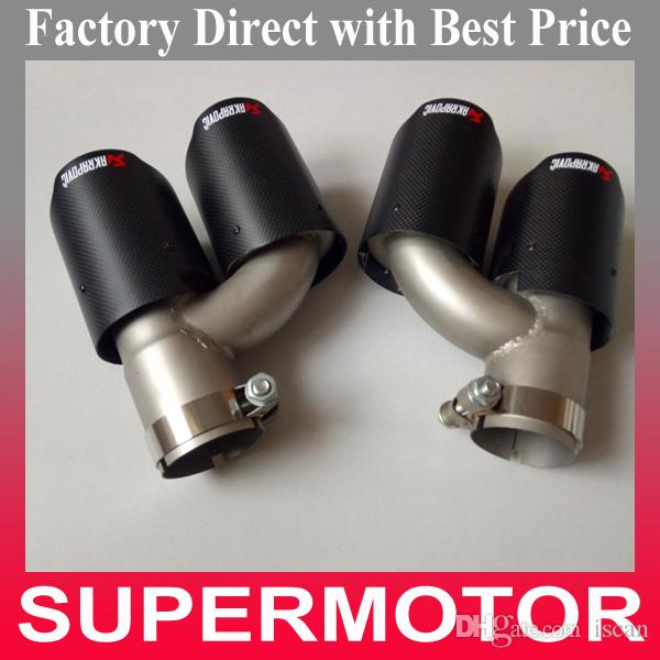 Top Quality One Pair IN 63MM OUT 89MM H Style AK Matte Carbon Exhausts Dual Tips, Akrapovic Exhaust Tail Dual Pipe Tail Tip