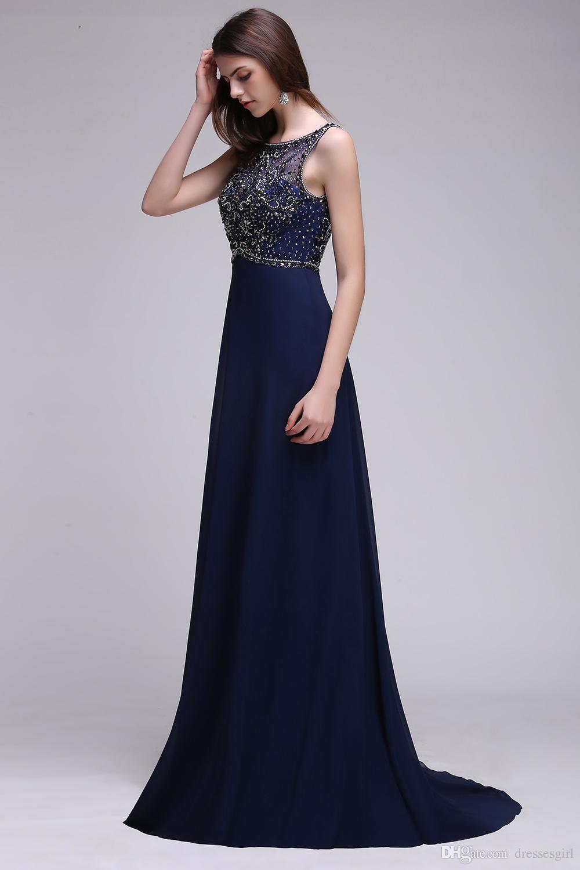 Vestido largo elegante azul marino