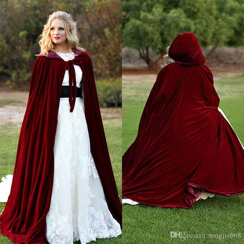 2020 Red Velvet lungo Natale mantello incappucciato Cappotti sposa Capes inverno Halloween Piano Lunghezza giacca da sposa damigella d'onore Wraps