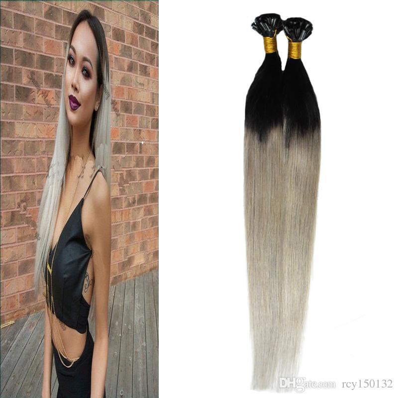 T1B / cinza 100g prata ombre remy indiano cabelo humano pré ligado u-ponta 100 s 4B 4C cinza ombre cabelo humano queratina ponta da ponta do cabelo extensões do cabelo