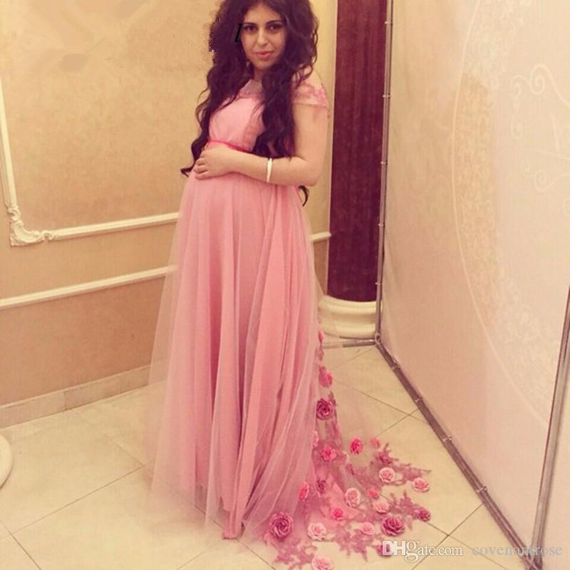 Pink Long Evening Dresses For Pregnant Women Handmade Flowers Plus Size  Special Occasion Dress For Maternity Party Wear Maxi Evening Dress Monsoon  ...