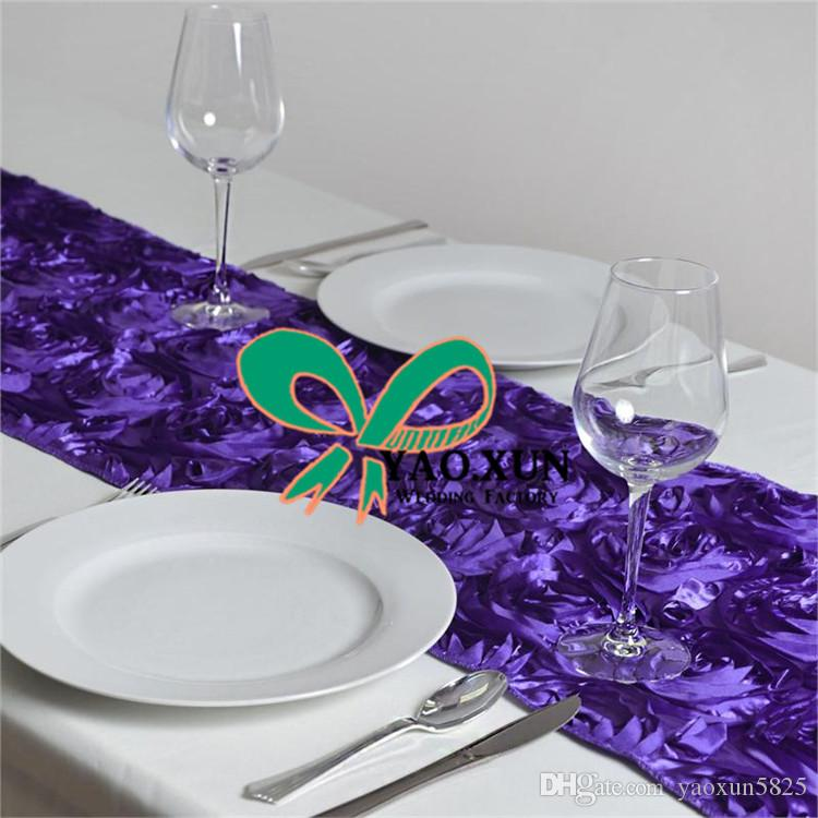 Hot Sale 3D Satin Rosette Table Runner For Wedding Baquet Decoration Free Shipping